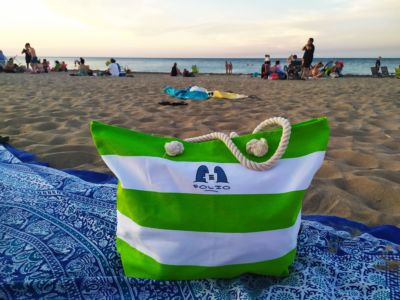 Bag relaxing on a beach in Denia, Spain, August 2020.