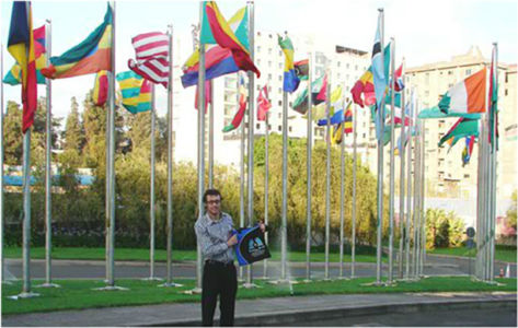 Bag and friend in front of UN headquarters in Addis Ababa.