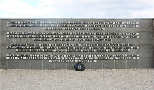 Bag at the scene of the daily roll calls for inmates at Dachau, March 2014.