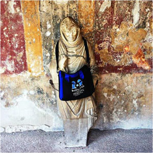 Bag and battered statue. Pompeii, Italy, July 2015.