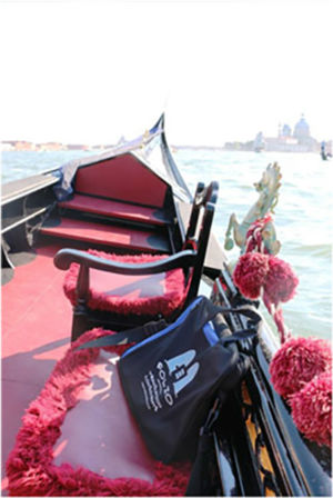 A slightly queasy Bag on a choppy gondola cruise on the Venice lagoon. Italy, May 2015.