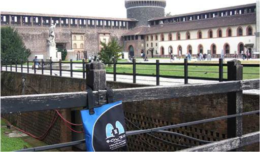 History boffin, Bag, on a visit to the impressive Castello Sforzesco. Milan, Italy, October 2012.