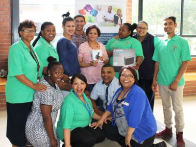 Malmesbury CDC, the winners of Folio InterTel's September competition, posing with their prize, a cordless speaker phone and paper shredder.   14 October 2016