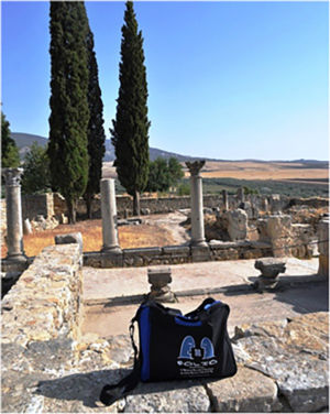 Bag visiting the impressive Roman ruins at  Volubilis, Morocco,  July 2014.