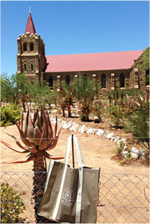 Bag admiring the Dutch  Reformed Church at  Volmoed in the Little  Karoo, January 2014.
