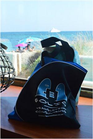Bag at the beach.  Palma de Mallorca,  Spain, July 2013.