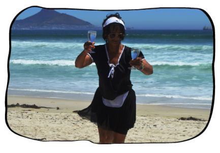 Anne with refreshing seawater. 12 February 2014.