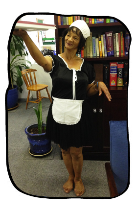 Wardrobe check. Anne as French maid.
