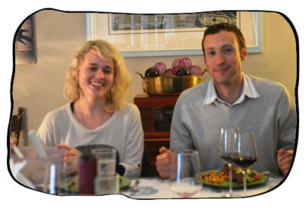 Anja & Henk. Henk with three glasses of red wine 2014 05 09.