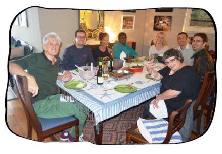 Braai at Philip's house. f.l.t.r Philip, Johan, Anne, Janet, Anja, Henk, Simon & Monica. Eduan took the pic. 2014 05 09.