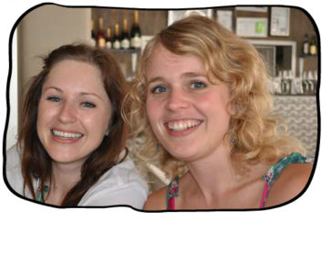 Monica's birthday lunch at Bizerca, Cape Town CBD, 27 January 2012. A glowing Marli and Anja.