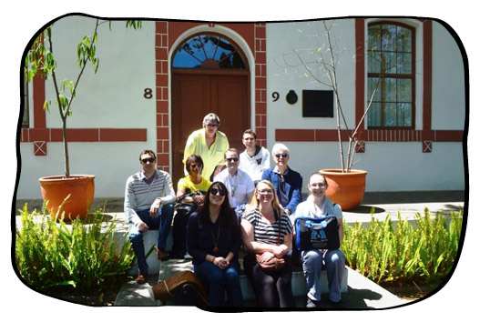 The Folio team in front of the Gedenkschool der Hugenoten, the first Afrikaans school, founded in 1883 at Dal Josafat, Paarl. 2015.10.16