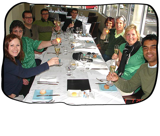 Marli's Birthday: From left to right > Marli, Monica, Johan, Henk, Simon, Anne, Philip, Andrea, Paul.