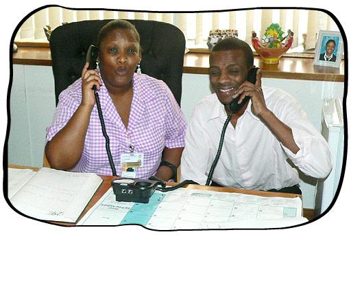 Tygerberg Hospital is ready for Folio InterTel's new medical telephone interpreting system.In the Picture: Ms Laticia Pienaar & Mr Albert Xipu.