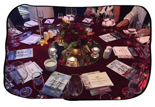 Festive table setting at the Cape Chamber of Commerce Western Cape Exporter of the Year function in Kenilworth, Cape Town, 5 November 2015.